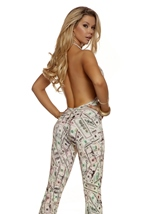 Adult Halter Money Print Women Sexy Catsuit