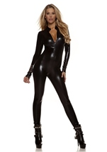 Metallic Zipfront Woman Black Catsuit
