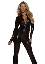 Adult Metallic Zipfront Woman Black Catsuit