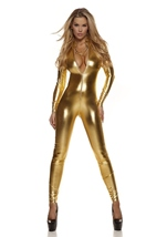 Adult Metallic Zipfront Woman Gold Catsuit