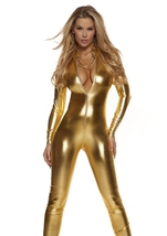 Adult Metallic Mock Neck Zipfront Woman Gold Catsuit