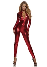 Metallic Zipfront Woman Red Catsuit