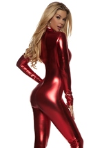 Metallic Mock Neck Zipfront Woman Red Catsuit