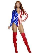 Adult Zipfront Flag Woman Bodysuit