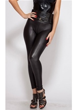 Stretch Metallic Black Pant With Size Zipper