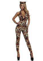 Tantalizing Tigress Woman Catsuit Costume