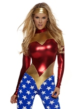 Adult America Patriotic Super Hero Woman Costume