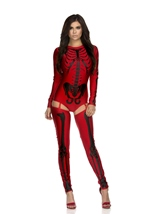 Astounding Outline Red And Black Bone Print Women Skeleton Bodysuit