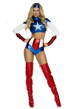 Adult America Woman Patriotic Super Hero Costume