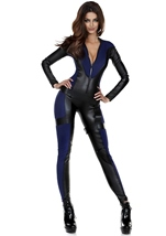 Adult Black Bodysuit Woman Super Hero Costume