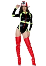 Adult Firefighter Woman Blazing Bodysuit Costume