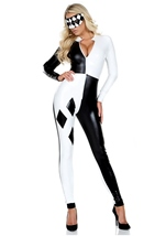 Jester Black and White Checkered Bodysuit Costume