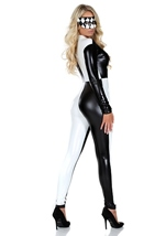 Adult Jester Black and White Checkered Bodysuit Costume