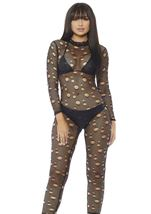 Fishnet Catsuit Woman Bodysuit With Cut Out Holes