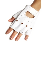 Fingerless Moto Faux Leather Gloves White