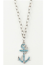 Rhinestone Anchor Silver Necklace