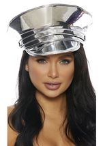 Metallic Cop Hat Silver