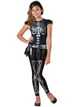 Skeleton Bling Girls Tween Scary Costume