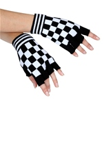 Acrylic Checkerboard Fingerless Gloves