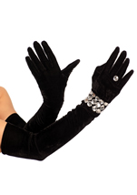 Stretch Velvet Opera Length Gloves