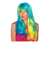 Long Wavy Women Rainbow Wig