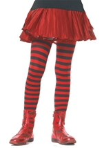 Girls Black And Red Stripe Tights