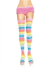 Neon Rainbow Thigh Highs Multicolor
