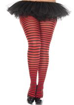 Plus Red And Black Stripe Tights