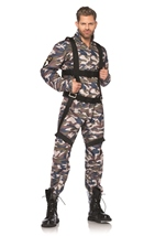 Paratrooper Men Army Soldier Camo Print Costume