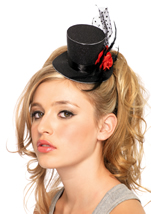 Rose Clip On Petite Glitter Top Hat