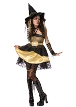 Women Sexy Gold Witch Halloween Costume