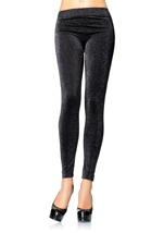 Lurex Leggings Black Silver