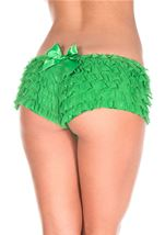 Ruffled Shorts With Back Satin Bow Green
