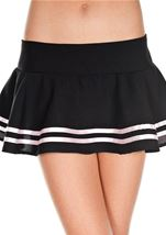 Double Striped Wavy Skirt Black