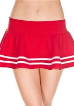 Double Striped Wavy Skirt Red