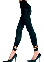 Crochet ankle spandex opaque leggings