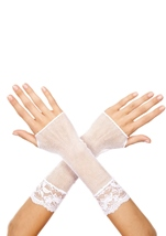 Fishnet Arm Warmer With Lace Trim White