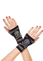 Opaque Fingerless Gloves With Crossbone Studs Black