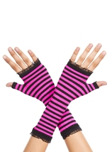 Opaque Stripes Warmer Black And Hot Pink