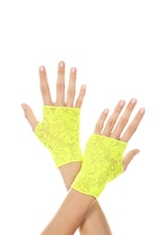 Lace Gloves Neon Green