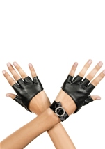 Metallic Fingerless Gloves With Rhinestone Wrist Band Black