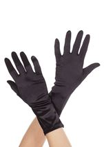 Wrist Length Satin Gloves  Black