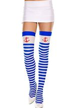 Anchor Print Opaque Thigh Highs With Blue White Stripes