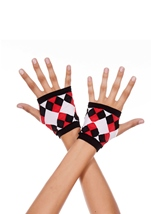 Opaque Fingerless Gloves With Jester Diamond Print