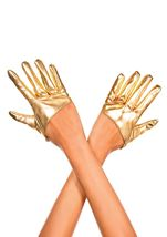 Short Wet Look Gloves Gold