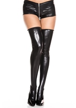 Wet Look Thigh High Black
