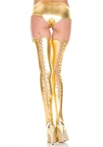 Adult Wet Look Thigh High Gold