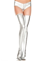 Adult Wet Look Thigh High Silver
