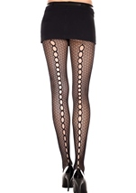 Keyhole Backseam Crochet Spandex Pantyhose Black
