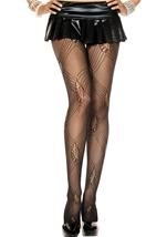 Leaf And Diamond Design Spandex Pantyhose Black